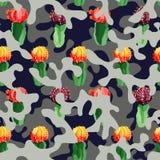 Cactus sui precedenti di camo nel colore di gray blu Immagini Stock Libere da Diritti