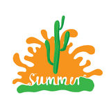 Cactus at sunset, vector logo Stock Photography