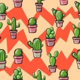 Cactus sur un fond géométrique Images stock