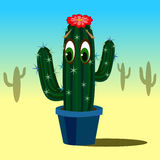 Cactus sveglio del fumetto con gli occhi in vaso di fiore illustrazione di stock