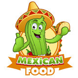 Cactus. Sympathetic cactus with a Mexican taco in her hand Vector Illustration