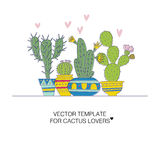 Cactus templates. Vector illustration of a hand drawn cactus stock illustration