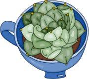Cactus in theekop royalty-vrije illustratie