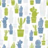 Cactus tirés par la main dans des pots Dirigez la configuration sans joint Image stock