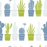 Cactus tirés par la main dans des pots Dirigez la configuration sans joint Photo libre de droits