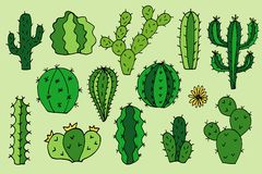 Cactus vector doodle cartoon Hand drawn illustrations. Set royalty free stock photography