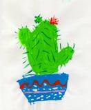 Cactus verde con il fiore rosso, disegno dei childs illustrazione di stock