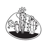 Cactus voor het kleuren van boeken Vector illustratie royalty-vrije illustratie
