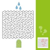 Cactus and water maze game for younger kids with a solution - Vector Stock Photos