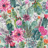Cactus watercolor seamless pattern in boho style. Stock Image