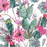 Cactus watercolor seamless pattern in boho style. Stock Photo