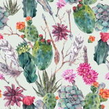 Cactus watercolor seamless pattern in boho style. Royalty Free Stock Images