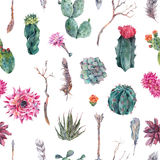 Cactus watercolor seamless pattern in boho style. Royalty Free Stock Photo