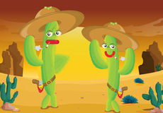 Cactus wearing hats Stock Image