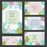 Cactus Wedding Cards Set Royalty Free Stock Photography