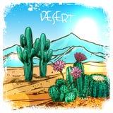 Cactus in Woestijnschets royalty-vrije illustratie