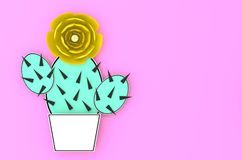 Cactus with yellow flower in a white pot on pink background 3D illustration. Cactus with yellow flower in a white pot on pink background minimalistic paper cut Royalty Free Stock Photo