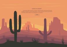 Cactuse et montagnes dans le désert aménagent en parc, coucher du soleil dans le canon, scène de fond avec des pierres et sable Image libre de droits