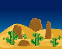 Cactuses in desert Royalty Free Stock Photos