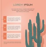 Cactuses Isolated on Pink Background Infographic. Cactuses Isolated on Pink Background Stock Images