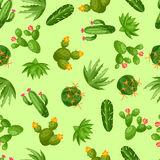 Cactuses and plants abstract natural seamless Royalty Free Stock Photos