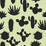 Cactuses and plants stylized natural seamless Royalty Free Stock Image
