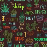 Vector boundless background of cacti and hand-written lettering. Cactuses and succulents in flower pots on brown background. Free hugs. Hug me please. You look Stock Photo