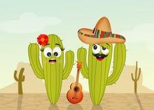 Cactuspaar in de woestijn stock illustratie