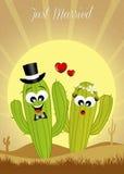 Cactuspaar in liefde royalty-vrije illustratie