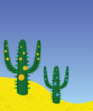 Cactussen in woestijn Stock Afbeelding