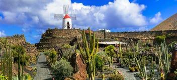 Cactustuin - populaire aantrekkelijkheid en oriëntatiepunt van Lanzarote, Canarische Eilanden royalty-vrije stock afbeelding