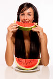 Cacuasian Beauty eating a watermelon Royalty Free Stock Photos
