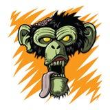 Cadáver de la criatura del mono del zombi del chimpancé ilustración del vector