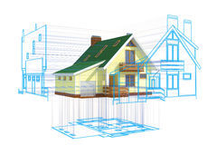 CAD. Blueprint projected on a house. Hi-res digitally generated image Stock Photography