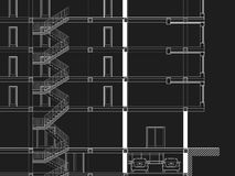 CAD Architectural drawing blueprint. Black&White CAD Architectural Five story building section drawing royalty free illustration