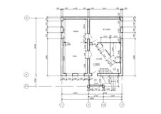 CAD Architectural Plan Blueprint. CAD Architectural Plan Drawing. Black lines on white background Stock Photos
