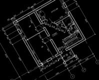 CAD Architectural Plan Drawing blueprint. White lines on black background Stock Image