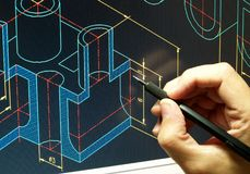 Cad blue print. Engineer working on cad blue print