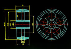 Cad blueprint detail. Over black background Royalty Free Stock Photography