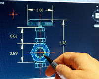 Cad blueprint. Engineer working on a cad blueprint Royalty Free Stock Photography
