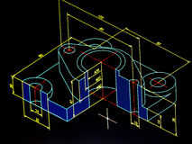 Cad blueprint. Machinery piece cad blueprint detail royalty free stock photography
