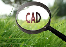 CAD computer aided design. Magnifying glass with the word CAD computer aided design on grass background. Selective focus stock photography