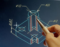 Cad design. Engineer working on cad design royalty free stock photography