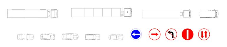 CAD drawings of cars and circulation signs Royalty Free Stock Photos