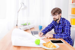 Cad engineer at work Stock Photo