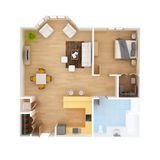 CAD Floor plan top view. 1 Bedroom 1 Bath colorful apartment interior isolated on white background. May be used for a graphic art, design or architectural Stock Photography