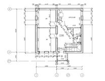 CAD Plan Drawing Blueprint. CAD Architectural Plan Drawing. Black lines on white background royalty free illustration