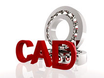 CAD in red. Ball bearings with red CAD symbol Royalty Free Stock Image