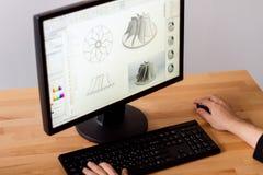 CAD-teknikerarbetsstation royaltyfri fotografi