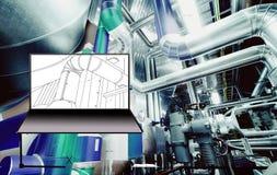 Σχέδιο CAD υπολογιστών Wireframe των σωληνώσεων Στοκ Φωτογραφίες
